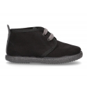 Autumn winter canvas little ankle boots in BLACK color.