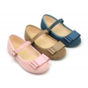 Autumn winter canvas little OKAA Mary Jane shoes in seasonal colors with shoemaker bow.
