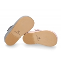 Classic Little Mary Janes with velcro strap with flower in pearl nappa leather.