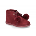Autumn winter canvas little bootie with POMPONS.