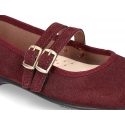 New Little Mary Jane shoes with double buckle in suede leather.