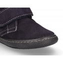 Suede leather ankle boots with velcro strap in suede leather.