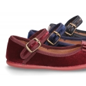 Special Okaa velvet canvas Mary jane shoes with shoemaker bow design.