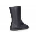 New WASHABLE LEATHER boots in dark blue color with zipper.