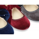 New Velvet canvas Mary Jane shoes with ties closure with big bow.