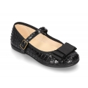 Autumn winter canvas little Mary Janes with BLACK COCO effect.