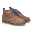 Suede leather ankle boots countryside style for kids.