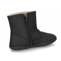 Autumn winter waxed canvas anklle boots in BLACK color with zippoer.