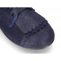 Nuevo Zapato clásico tipo Blucher con FLECOS en piel serraje metalizado.
