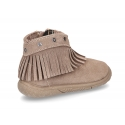 New suede leather ankle boots with FRINGED design and toe cap.
