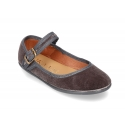New Stylized velvet canvas little Mary Jane shoes with buckle fastening.