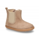 Autumn winter canvas little ankle boots with elastic band and zipper closure.