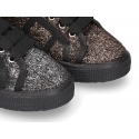 Casual sneaker shoes in PONY EFFECT canvas with metal finish.