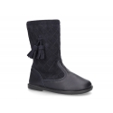 New washable leather boots combined with padded suede leather with tassels design.