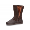 Washable leather boots combined with padded suede leather with tassels design.
