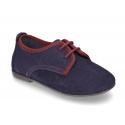Nuevo Zapato tipo Blucher de vestir con piso estilizado en piel serraje.
