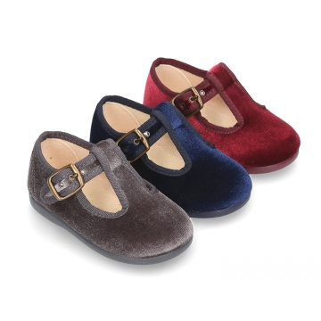 New little VELVET canvas T-strap shoes for little kids.