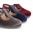 New little VELVET canvas T-strap shoes.