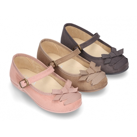 Autumn-winter canvas Mary Jane shoes with bow with crossed ribbons.