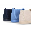Autumn-winter canvas little ankle boots with hook and loop strap.