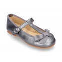 New T-strap Mary Jane shoes with ribbon in metal nappa leather.