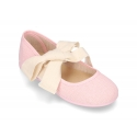 New LINEN canvas Ballet Flat shoes or Mary Jane shoes angel style with big ribbon closure.