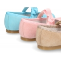 Soft suede leather little Mary Jane shoes with velcro strap and ribbon.