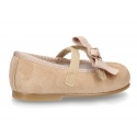 Soft suede leather little Mary Jane shoes with hook and loop strap and ribbon.