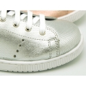 New Casual tennis shoes in metal nappa leather with shoelaces.