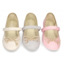 Cotton canvas Ballet flat shoes with hook and loop strap and bow in contrast.