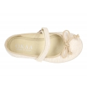 New Cotton canvas Ballet flat shoes with velcro strap and bow in contrast.