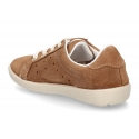 New Casual suede leather Tennis shoes with shoelaces closure.