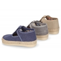 Cotton canvas T-Strap shoes espadrille style for babies.