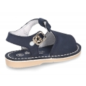 Nobuck leather kids Sandal shoes Menorquina style with SUPER FLEXIBLE soles.