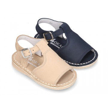 Nubuck leather Sandal shoes Menorquina style with SUPER FLEXIBLE soles.
