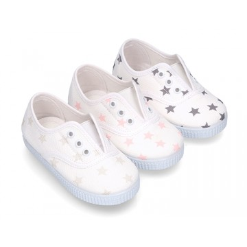 Cotton Canvas bamba shoes with elastic band and stars print.