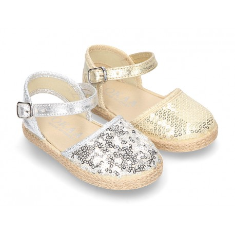 Little Cotton canvas espadrille shoes with sequins design.