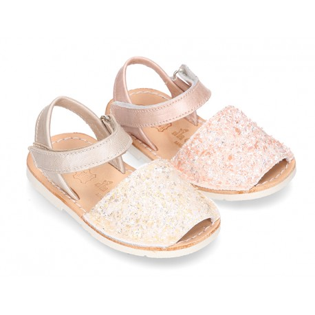 New Menorquinas sandals with velcro strap in pearl nappa leather with crystals design.