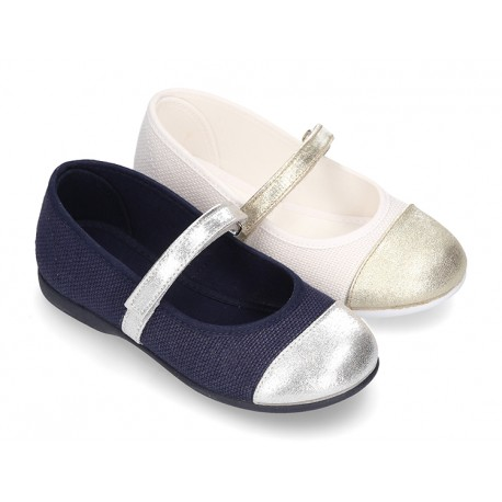 LINEN cotton canvas little Mary Janes with metal toe cap.