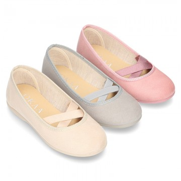 New spring summer canvas ballet flats dancer style with elastic crossed bands.