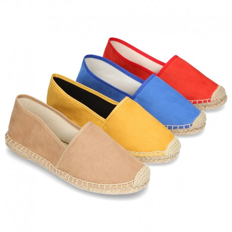 New smooth cotton canvas classic espadrille shoes with toe cap.