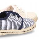 Stripes print Cotton canvas Laces up shoes espadrille style.