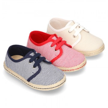 Stripes print Cotton canvas Laces up shoes espadrille style.