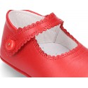 Soft Nappa leather little Mary Jane shoes with button for baby.