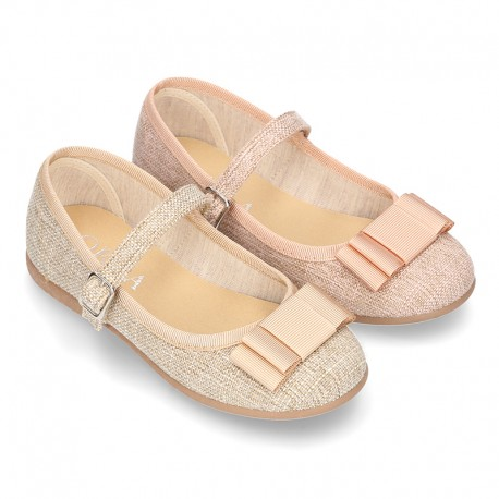New Linen canvas little OKAA Mary Jane shoes with buckle fastening and big bow.