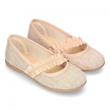 New Linen canvas little Ballet flat shoes with elastic band.