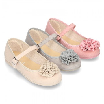 New spring summer canvas Mary Janes with FLOWER design.