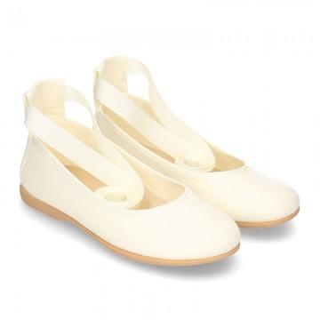 Silk Canvas CEREMONY ballet flat shoes dancer style.