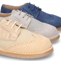 Combined Laces up shoes for ceremony in leather with cotton canvas.