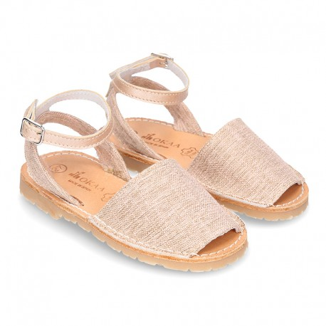 LINEN canvas Menorquina sandals with rear strap and buckle fastening.
